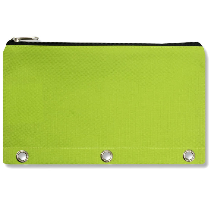 wholesale three ring pencil case in color lime green