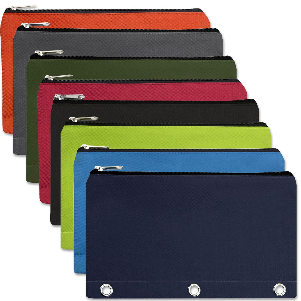 wholesale three ring pencil cases in assorted colors