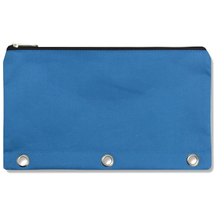 wholesale three ring pencil case in color blue