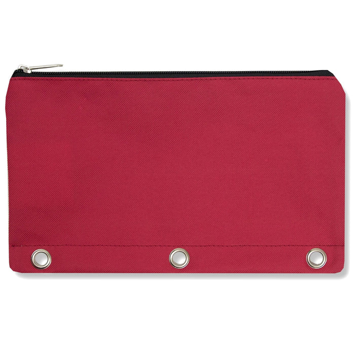 wholesale three ring pencil case in color red