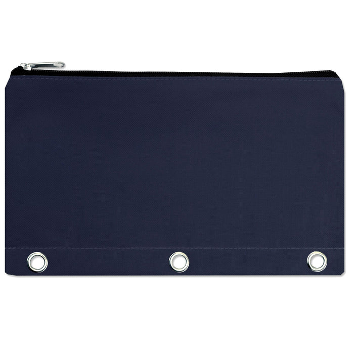 wholesale three ring pencil case in color navy