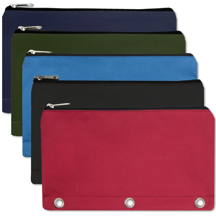 wholesale three ring pencil case in assorted colors