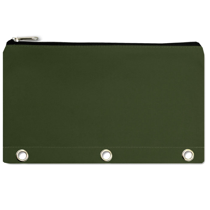 wholesale three ring pencil case in color green