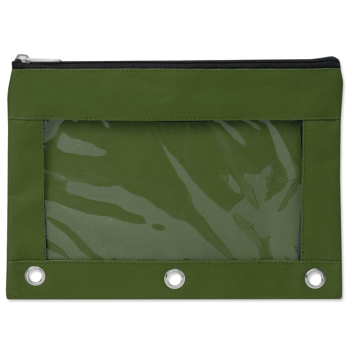 wholesale three ring pencil case with window in color green
