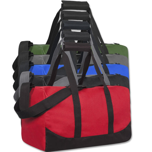 Assorted wholesale duffel bags in multiple colors