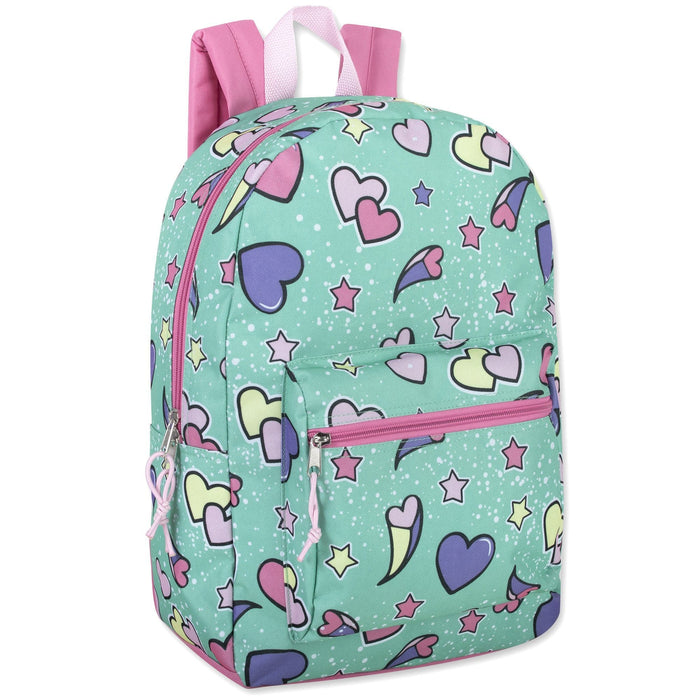 girls wholesale printed backpack in heart pattern
