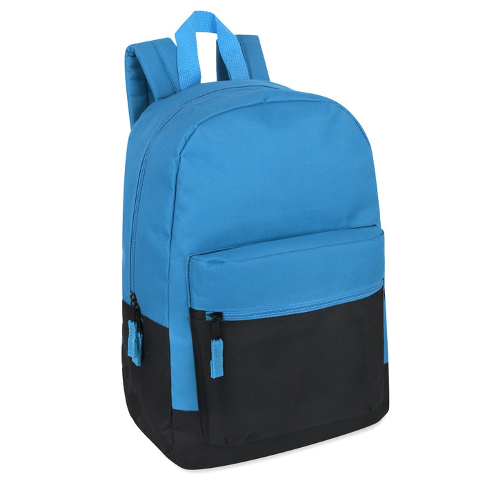 Wholesale Solid Color Block 17 Inch Backpack - 4 Colors