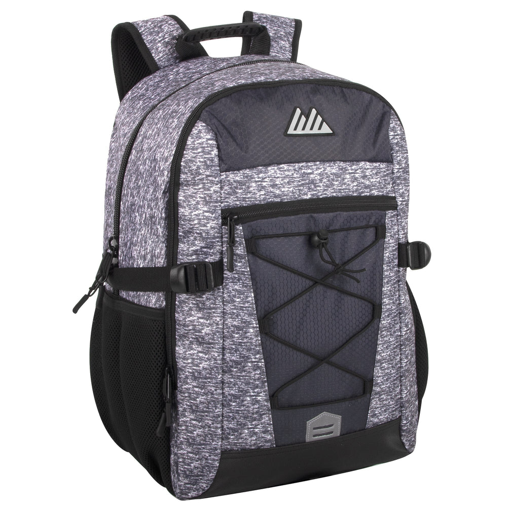 Wholesale 19 Inch Mountain Edge Heather Bungee Cord Backpack With Padded Laptop Section
