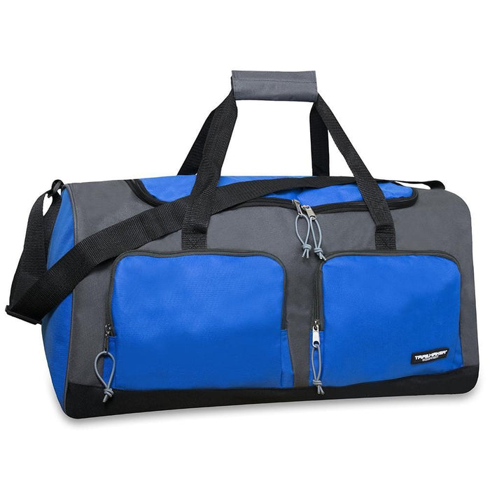 wholesale multi pocket duffel bag in color blue