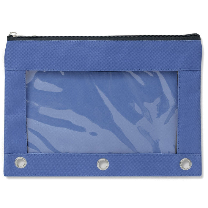 wholesale three ring pencil case with window in color blue
