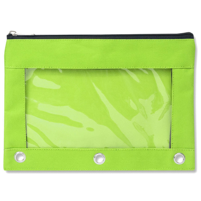 wholesale three ring pencil case with window in color lime green