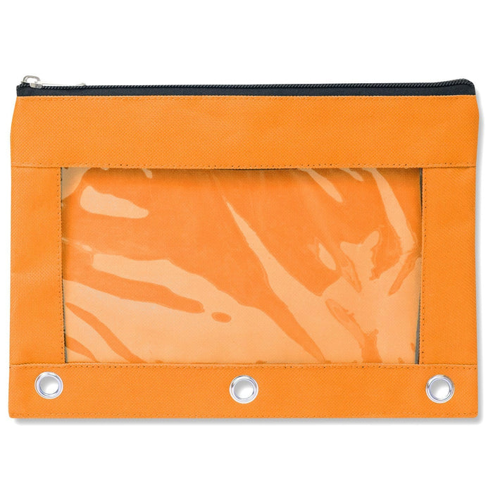 wholesale three ring pencil case with window in color orange