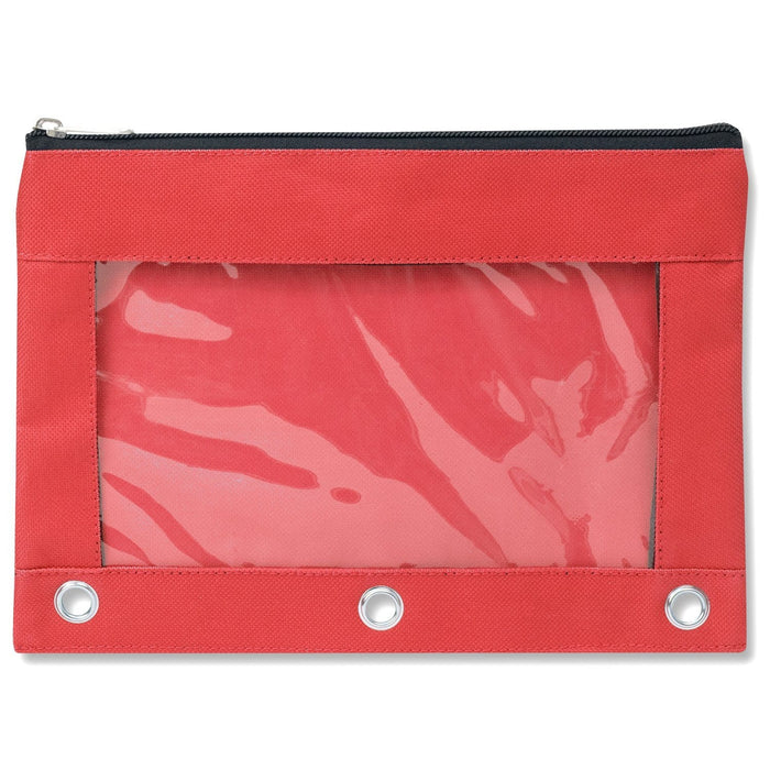 wholesale three ring pencil case with window in color red
