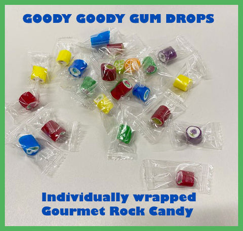 Individually wrapped gourmet rock candy.