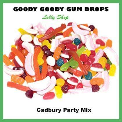 400 x re-sealable bags each containing 60 Gm Cadbury Party Mix with a custom printed label Goody Goody Gum Drops