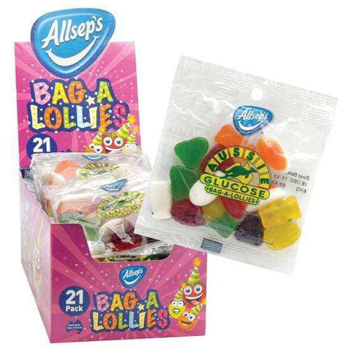 "Aussie Glucose ""Bag-a-Lollies"" (Box of 21 x 60 Gm bags) 