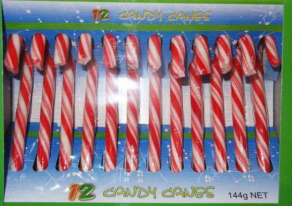 Christmas Candy Canes (Box of 12  X 12 Gm) - Goody Goody Gum Drops