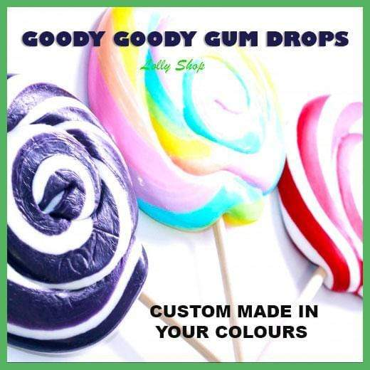 Design your own 5 Cm Gourmet Lollipops (Minimum 25) Goody Goody Gum Drops