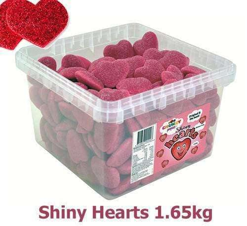 Red Shiny Hearts (129 in a Tub) - Goody Goody Gum Drops