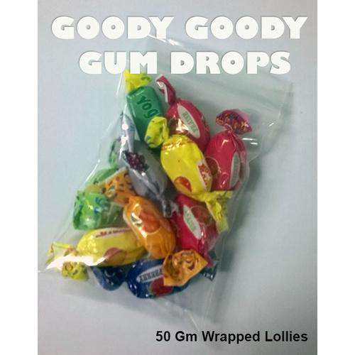 Wrapped Lollies in 100 x 50 Gm Clear Bags - Goody Goody Gum Drops