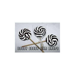 Gourmet 8 cm Black & White Lollipops (Box of 25) - Goody Goody Gum Drops