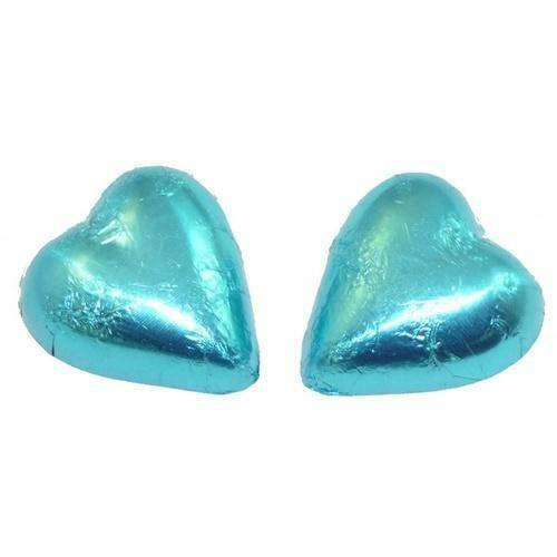 Light Blue Foil Covered Chocolate Hearts - Goody Goody Gum Drops