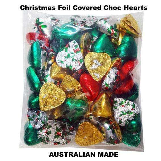 Christmas Foil Covered Chocolate Hearts 500 Gm - Goody Goody Gum Drops