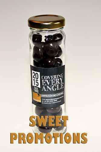 Chocolate covered Coffee Beans in 100 x Tall Flint Glass Jars - Goody Goody Gum Drops