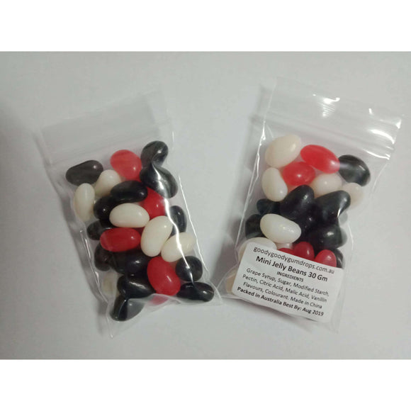 Jelly Beans Red, Black & White (100 x 30 Gm bags) - Goody Goody Gum Drops