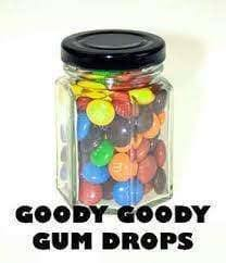M&Ms in 75 Gm Hexagonal Glass Jars (10) - Goody Goody Gum Drops