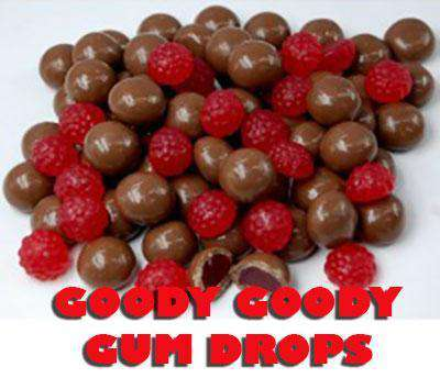 Chocolate coated Raspberry Jellies (16 x 60 Gm Bags) - Goody Goody Gum Drops
