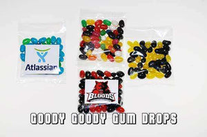 Goody Goody Gumdrops Pty Ltd SWEET PROMOTIONS Mini Jelly Beans Custom Labelled with your logo - 500 x 50 Gm bags