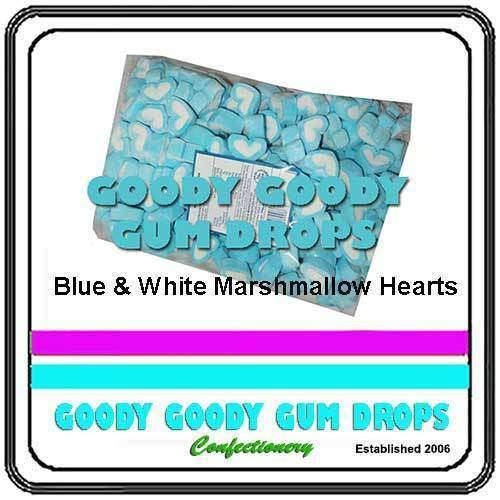 Marshmallow Hearts Blue & White 1kg - Goody Goody Gum Drops