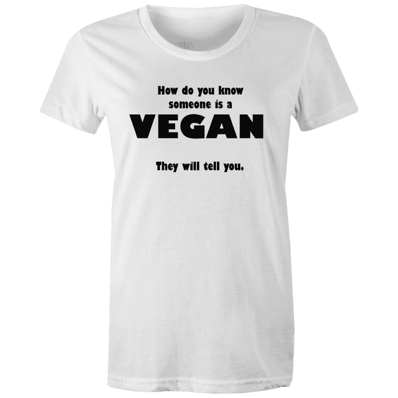 HOW TO TELL A VEGAN - AS Colour Wafer - Womens Crew T-Shirt |