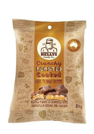 Kelly's Chocolate Coated Peanut Brittle 8 x 80 Gm Bags - Goody Goody Gum Drops