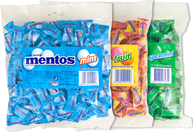 Mentos MINTS & FRUITS Pillow Packs Bulk Box 2000 pieces - Goody Goody Gum Drops