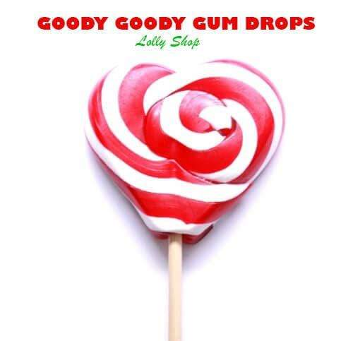 Red & White 5 cm Heart Lollipops (Pack of 25) Goody Goody Gumdrops Pty Ltd
