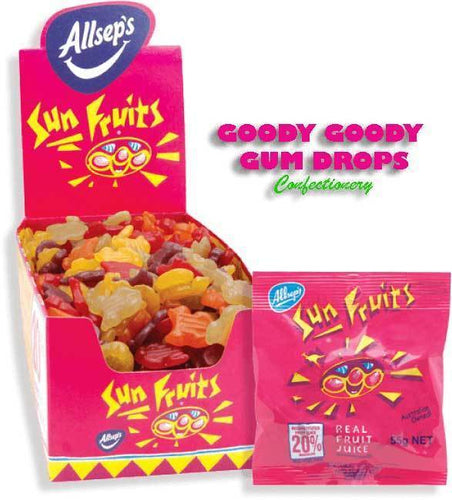 SUN FRUITS (21 x 55 Gm Bags) - Goody Goody Gum Drops