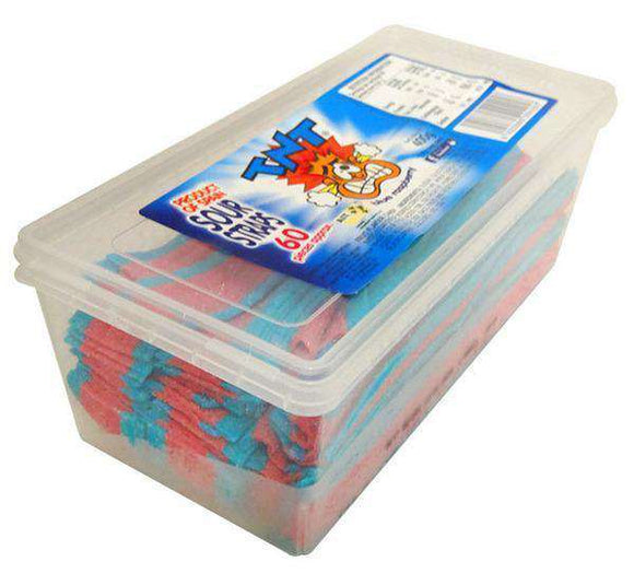 TNT Sour Straps Snack Pack Blue Raspberry (60 pc - 400 Gm Tub) - Goody Goody Gum Drops
