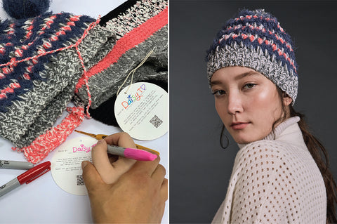 an image of a crocheted handbag next to a girl pouting with a crochet hat on