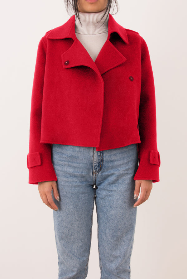 Aria Double-Face Cashmere Double Breasted Military Coat - Red