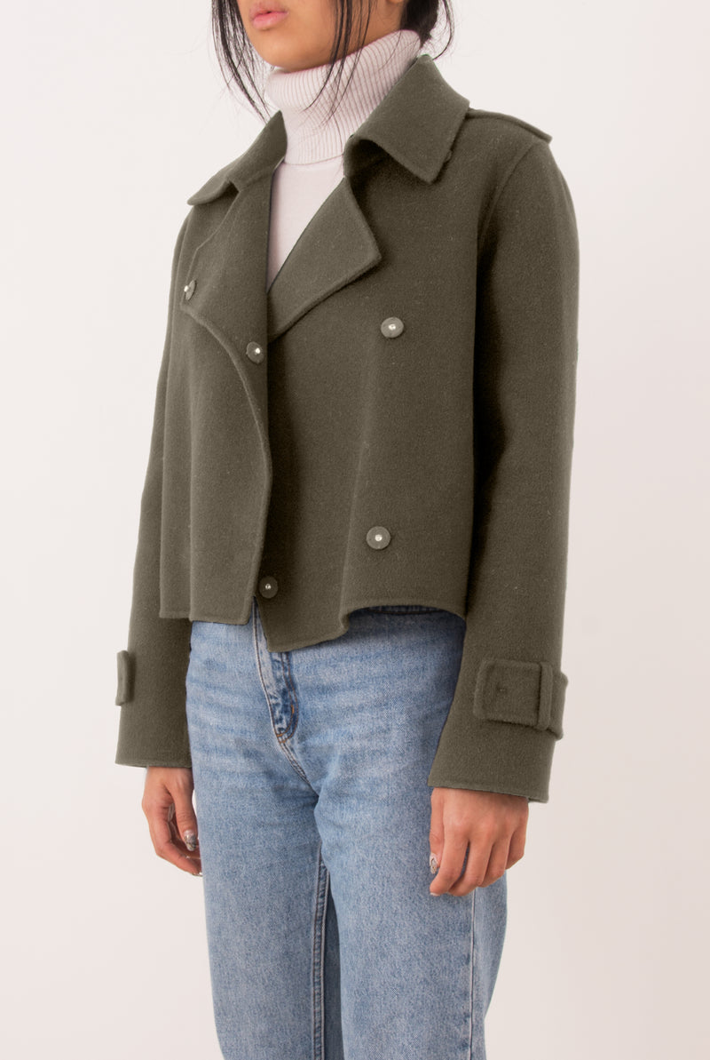 Aria Double-Face Cashmere Double Breasted Military Coat - Grey