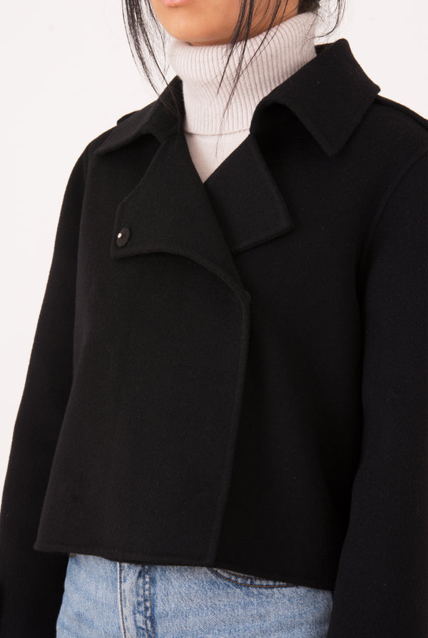 Aria Double-Face Cashmere Double Breasted Military Coat - Black