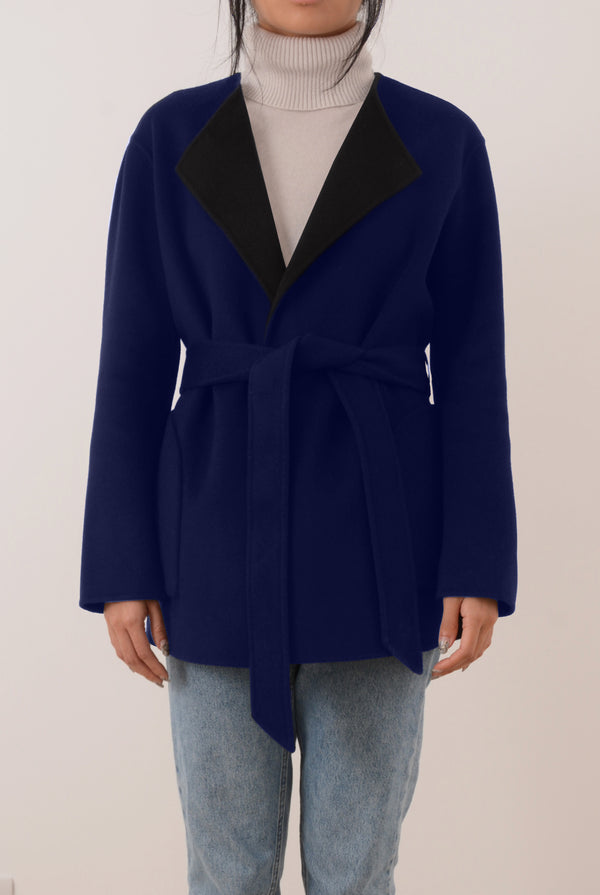 Alda Reversible Double-Face Cashmere Wrap Coat - Dark Grey/Blue