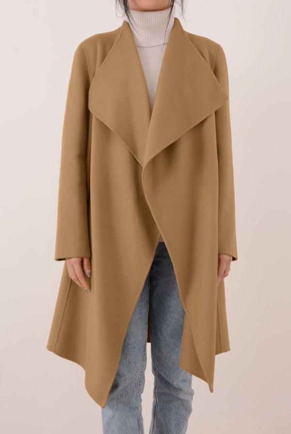 Claire Double-Face Cashmere Waterfall Coat - Camel