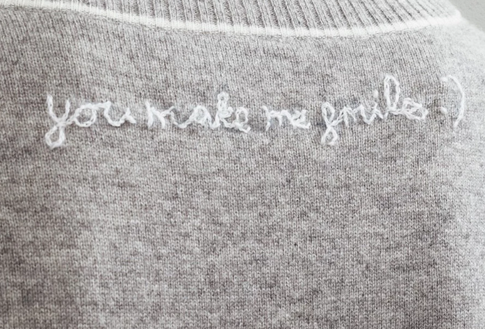 Personalized Paloma Embroidered Cashmere Sweater Grey/Ivory