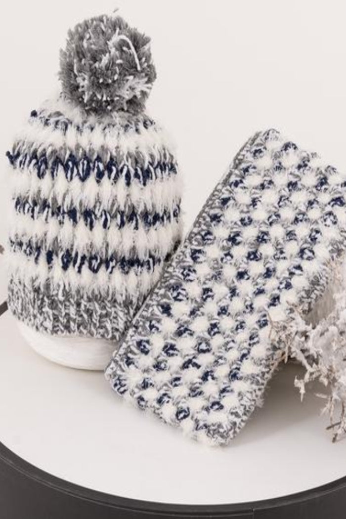 22 Factor | Ciao Crochet Beanie & Clutch Grey Blue Gift Set