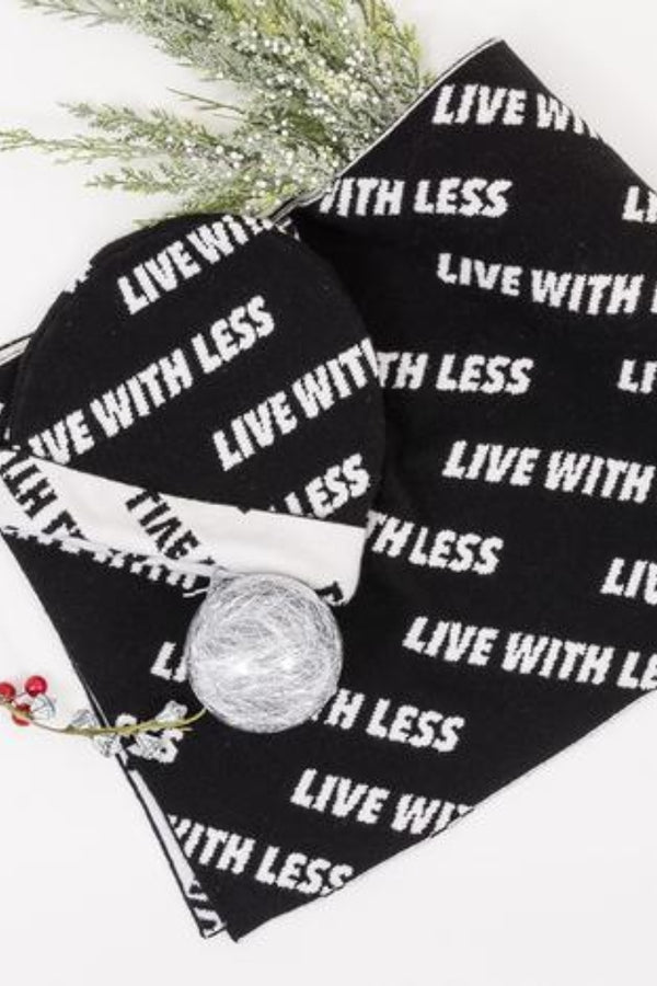 22 Factor | Accessories | 'Live With Less' Beanie & Scarf Black Gift Set