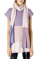 22 Factor | Block Stripe Shawl Scarf in Beige/ Purple | The R Collective