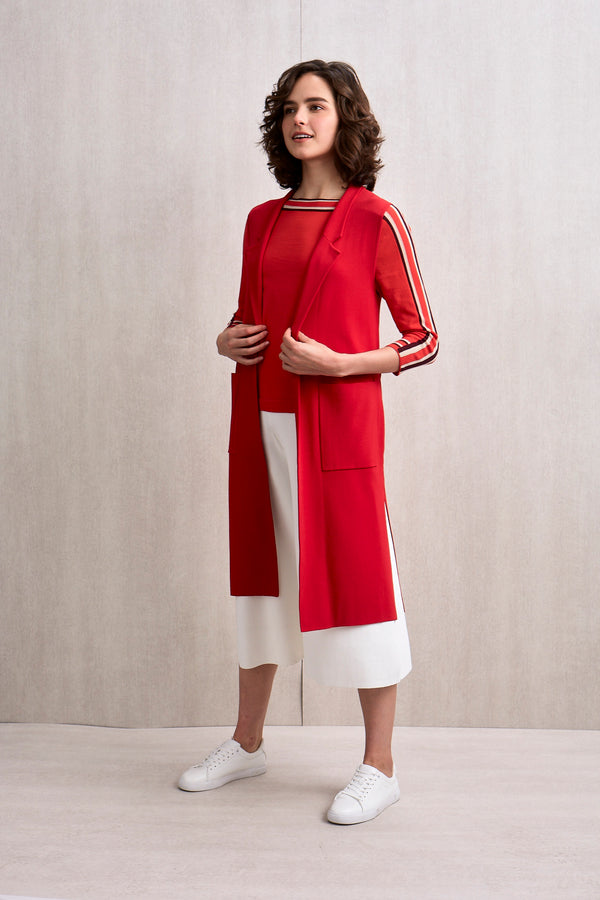 Hazel Sleeveless Open Trench Red